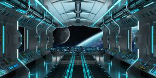 Spaceship interior with view on the planet Earth 3D rendering el. Spaceship interior with view on space and planet Earth 3D rendering elements of this image Stock Images