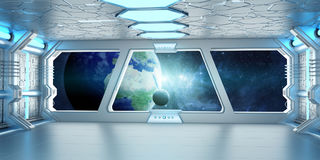 Spaceship interior with view on the planet Earth 3D rendering el. Spaceship white and blue interior with view on space and planet Earth 3D rendering elements of Royalty Free Stock Images