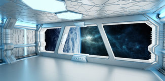 Spaceship interior with view on the planet Earth 3D rendering el. Spaceship white and blue interior with view on space and planet Earth 3D rendering elements of Royalty Free Stock Image