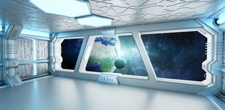 Spaceship interior with view on the planet Earth 3D rendering el. Spaceship white and blue interior with view on space and planet Earth 3D rendering elements of Stock Photos