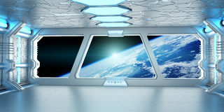 Spaceship interior with view on the planet Earth 3D rendering el. Spaceship white and blue interior with view on space and planet Earth 3D rendering elements of Stock Images