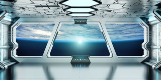 Spaceship interior with view on the planet Earth 3D rendering el. Spaceship white and blue interior with view on space and planet Earth 3D rendering elements of Royalty Free Stock Photography