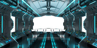 Spaceship interior with view on white windows 3D rendering Stock Image