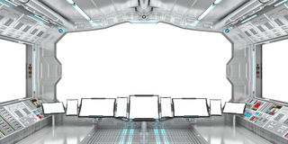 Spaceship interior with view on white windows 3D rendering Stock Photography