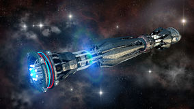 Spaceship in interstellar travel Royalty Free Stock Images