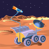Spaceship investigate planet in space. Explore of barren moon royalty free illustration
