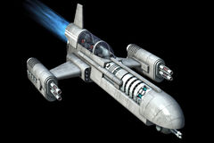 Spaceship isolated on black background Royalty Free Stock Images
