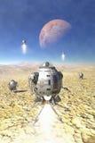 Spaceship landing on a desert planet. 3D render science fiction illustration Stock Images