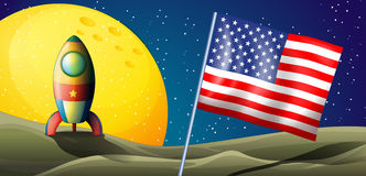 A spaceship landing with a USA flag Stock Photos