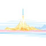 Spaceship Launch Landscape Stock Photo