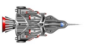 Spaceship. Made on Vector Graphic Art, view from above. Originally Hand Draw, remake on  graphics. BluedarkArt Copyright Stock Photos