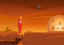 Spaceship-on-martian-landscape Stock Photos