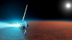 The spaceship near Mars Royalty Free Stock Image