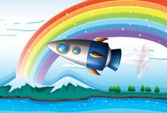 A spaceship near the rainbow above the ocean. Illustration of a spaceship near the rainbow above the ocean Royalty Free Stock Photo