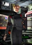 Spaceship officer girl stock illustration
