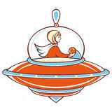 Spaceship, orange UFO,. Line drawing festive. Vector drawing.  Linear pattern on a white background Stock Image