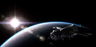 Spaceship on the orbit Royalty Free Stock Photography