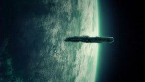 Spaceship Orbits Alien Planet. Big spaceship in orbit near a huge green planet stock video footage