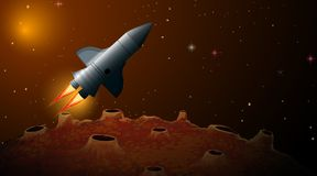 Spaceship in outer space scene. Illustration stock illustration