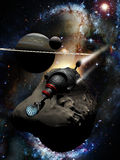 Spaceship into outerspace. Science fiction spaceship over an asteroid. Planet, satellite and stars in background Royalty Free Stock Photo