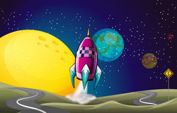 A spaceship in the outerspace near the moon Stock Photo