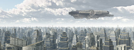 Spaceship over a city vector illustration