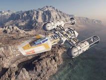 Spaceship over a landscape vector illustration
