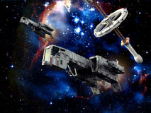 Spaceship patrol. A couple of space fighters with a space station in background in 3d Royalty Free Stock Photography
