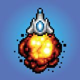 Spaceship pixel art Illustration of spaceship blasting off and flying. Spaceship pixel art style Illustration of spaceship blasting off and flying stock illustration