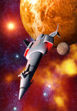 Spaceship and planet. A spaceship with a red planet starry background in 3d Royalty Free Stock Photo