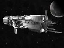 Spaceship with planet earth royalty free illustration