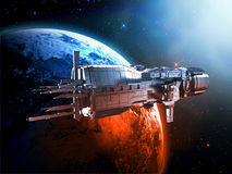 Spaceship with planet earth. 3d spaceship with planet earth background Stock Photo