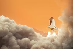 Spaceship on the planet Mars. Rocket takes off on Mars. royalty free stock photo