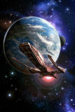 Spaceship planet and moon. 3D render science fiction illustration Royalty Free Stock Photo