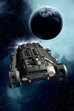 Spaceship Planet and Nebula Stock Photo