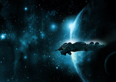 Spaceship and planet royalty free stock photo