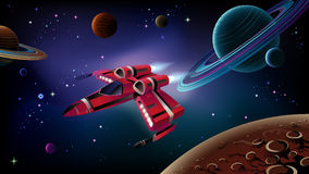 Spaceship, planets and space. stock illustration