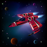Spaceship, planets and space. Royalty Free Stock Photo