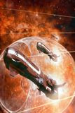 Spaceship police fighters attack. 3D render science fiction illustration Stock Image