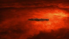 Spaceship in raging atmosphere above red planet. Large spacecraft moving through stormy atmosphere above red planet with lightning strikes and swirling clouds royalty free illustration