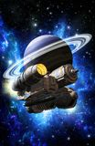 Spaceship and ringed planet. 3D render science fiction illustration Stock Photo