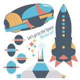 Spaceship, rocket and spase station with robots  set illustrations. Royalty Free Stock Photo