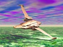 Spaceship Scout. Scout spaceship exploring green planet Royalty Free Stock Photos