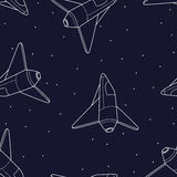Spaceship seamless pattern. Shuttle vector illustration. Stock Images