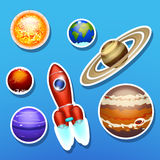 Spaceship with solar system Royalty Free Stock Images