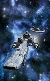 Spaceship and space station. 3D render science fiction illustration Stock Photos
