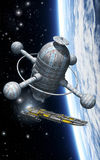 Spaceship and space station with planet. 3D render science fiction illustration Stock Photos