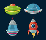 Spaceship and spacecrafts cartoon set for space computer or smartphone game Stock Photography