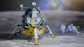Spaceship and spaceman on moon. stock video footage