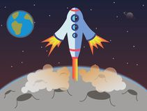 Spaceship starting from Moon stock illustration